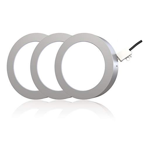 LED Aufbauleuchte LED Spot 3 er Set inkl. 3 x 12W LED-Platine LED Einbauleuchte Deckenspot Decken Einbaustrahler Einbauspot Deckeneinbaustrahler Deckeneinbauleuchte Deckenstrahler rund