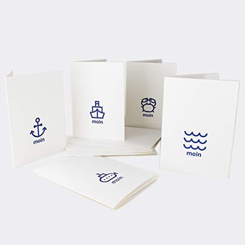 AHOI MARIE® Maritimes A6 Grußkarten 5er Set - Handgedruckt MOIN Klappkarten mit Umschlag auf nachhaltigem Papier