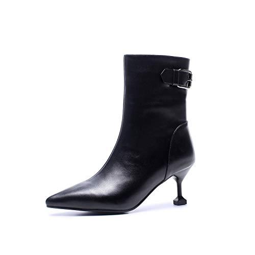 Top Shishang Frauen-reizvolle elastische Lederne Spitze High Heel Martin Stiefel Weiße Chelsea-Stiefel und Stiefeletten Western Ankle Boots,Schwarz,39 Western Wellington Boot