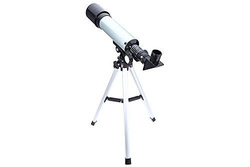 GBlife F36050M Telescopio Refractor Astronómico de Alta Calidad  Apertura Activa 50mm  Espejo Oblicuo 90 grados  con Trípode para Niños / Principiantes  Color Plata