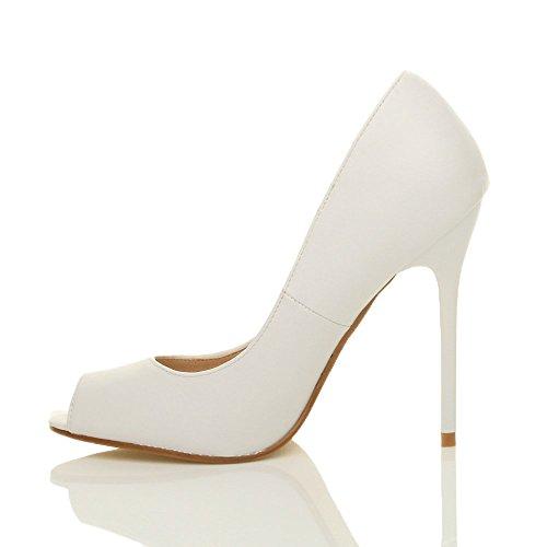 Donna tacco alto festa punta aperta peep toe décolleté scarpe sandali taglia Bianco opaco