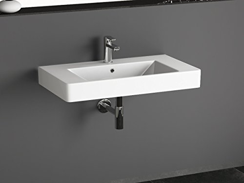 Aqua Bagno KP.80 Design Waschbecken/Aufsatzbecken 80x45cm Keramik weiß Waschtisch Waschschale
