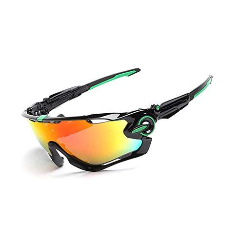 Lafeil Sportbrille Wechselgläser Herren Sportbrille Damen Herren Männer Und Frauen Brille Polarisierten Sonnenbrillen Outdoor Reitbrille Fünf Teiliger Anzug Schwarz Grün Nail