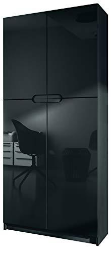 Schwarz Hochglanz Möbel (Vladon Büroschrank Aktenschrank Büromöbel Logan, Korpus in Schwarz matt/Fronten in Schwarz Hochglanz)