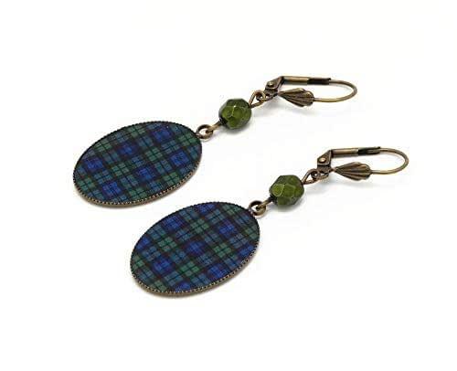 Orecchini resina plaid scozzese blu nero verde tartan ottone bronzo perla personalizzate regali Natale amici compleanno cerimonia di nozze ospiti festa della madre