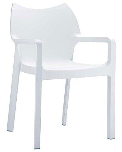 Chaise de jardin empilable en plastique, coloris : blanc,Dim : H84 x P53 x L57 cm -PEGANE-