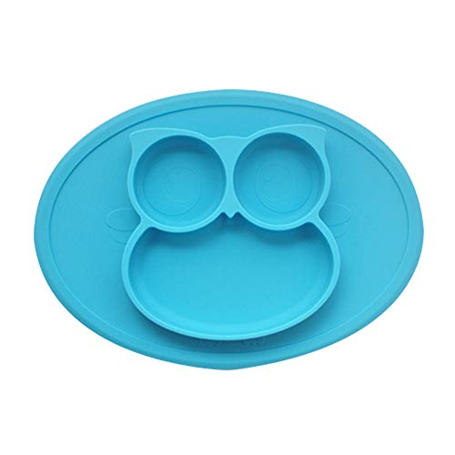 ZYBC Kinder Tablett Teller Geschirr Eule Form Lebensmittel Silikonplatte (Blau)