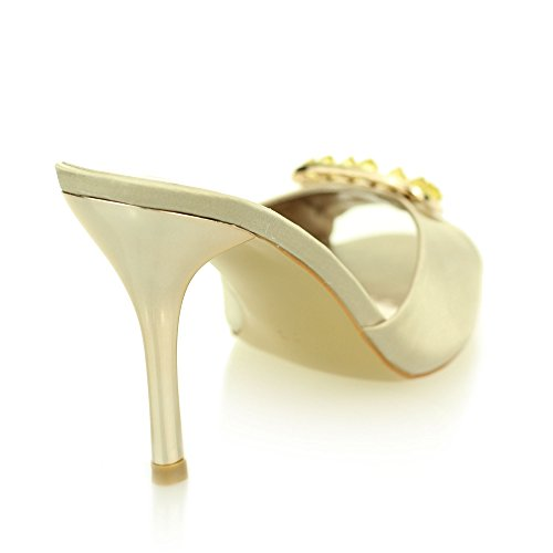 Frau damen abend prom party hochzeit braut stilettos hoch ferse diamant sandale schuhe größe (Schwarz, Silber, Helles Gold, Königsblau) Helles Gold