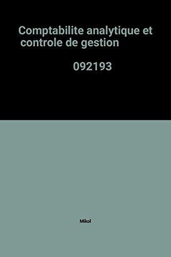Comptabilite analytique et controle de gestion                                                092193
