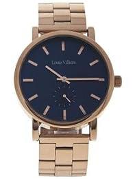 Reloj mujer Louis Villiers esfera 40 mm de acero azul y pulsera rosa dorado en acero lv2068