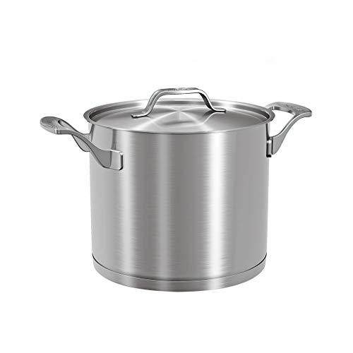 Olla de 10L para el hogar 304 Acero Inoxidable Engrosado Doble Fondo Antiadherente Gas Cocina de Gran Capacidad de Gran Profundidad Alta Olla de Sopa Olla de inducción
