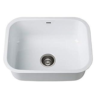 KRAUS KEU-12WHITE Pintura 16 Gauge Undermount Single Bowl Enameled Stainless Steel Kitchen Sink 23-inch White