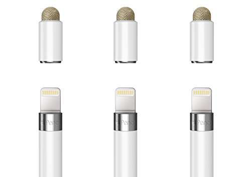 MoKo 3-PACK 2 in 1 Apple Bleistift Cap Ersatz dünne Schutzkappe Cover Tipp/als Stylus für Apple iPad Pro Bleistift, iPads, iPhones, Tablets, Laptops und alle Touch-Screen-Geräte (3-zoll-haar-bürste)
