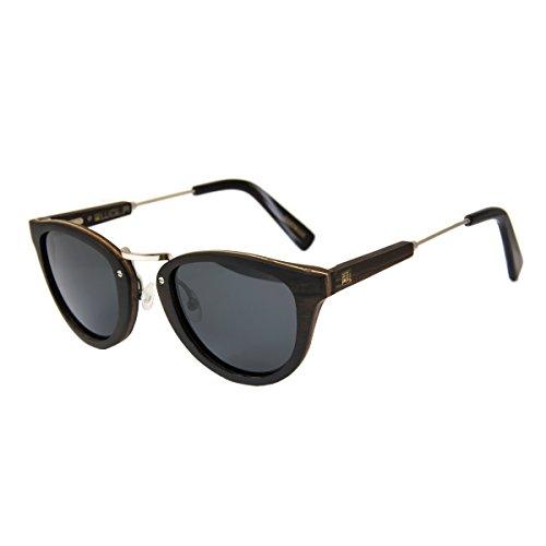 WOLA Damen Herren Sonnenbrille Holz AQUA Brille rund mit Metallbrücke polarisiert UV400 Ebenholz...