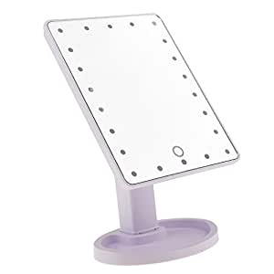 Segolike Portable 22 LED Lighted Touch Screen Dimming Beauty Vanity Makeup Cosmetic Mirror 360?Swivel Rotation Tabletop Bathroom Mirror - light purple
