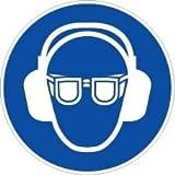 novap–Piktogramm–Brille und Gehörschutz Obligatorisch–Brett 10Piktogramme Klebemittel) Durchmesser 40mm–-Brett 10Piktogramme Durchmesser 40mm