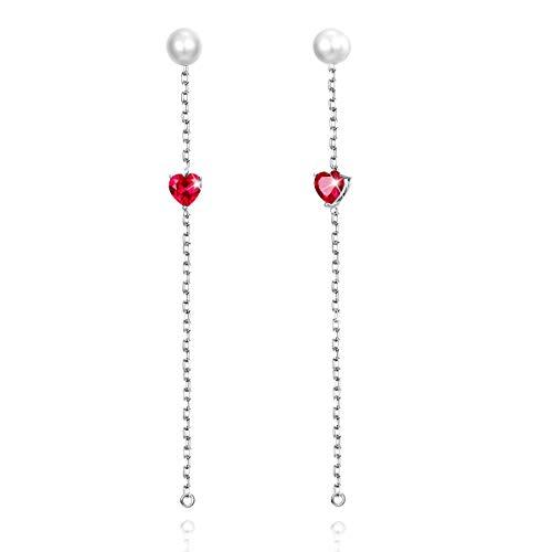 PEARLOVE 925 Sterling Silber Perlen lange Ohrringe für Frauen Mädchen, hypoallergene herzförmige rote Zirkonia Quaste Perlen Ohrringe Schmuck Geschenk mit Geschenk-Box-Paket