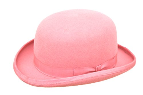 Coque rigide haute qualité avec chapeau melon 100%  laine, doublure en Satin-Tailles S à XL Rose - Rose pâle