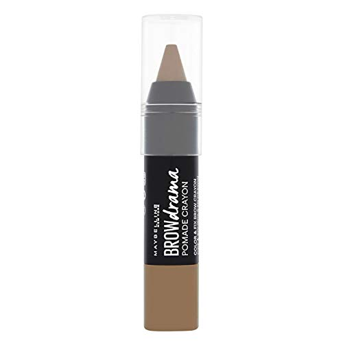 Maybelline Brow Drama Pomade Crayon in Medium Brown, Augenbrauenstift, zum Formen und Betonen von Augenbrauen, mit cremiger Textur, hoch pigmentiert, einfache Anwendung, 1,1 g - Trend Lidschatten-duo
