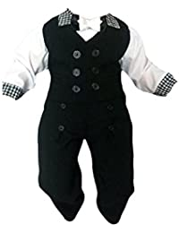 Traje de Bautizo jóvenes de bebé Infantil Niño bautizo traje Traje De Boda De Fiesta, 4 piezas , negro-blanco K11A