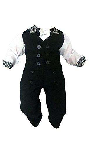 Taufanzug Baby Junge Kinder Kind Taufe Anzug Hochzeit Anzüge Festanzug, 4tlg , Schwarz-Weiß, Gr.74 K11A