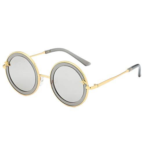 Taiyangcheng Runde Kindersonnenbrille-Metallnette Baby-Sonnenbrille für Jungen-Mädchen,Silber