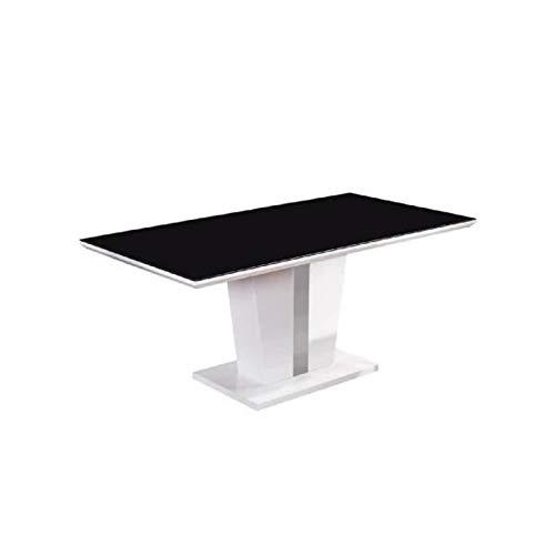 Générique Trevise Table a Manger 8 Personnes 180x90 cm - Noir et laqué Blanc Brillant