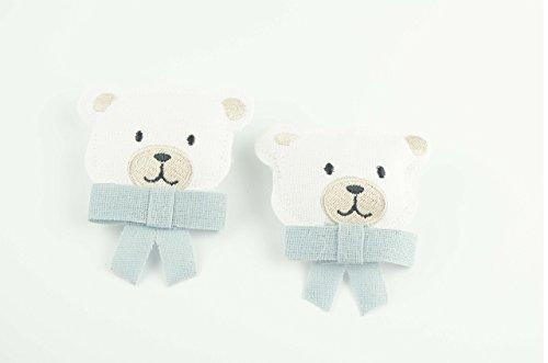 Teddy bear - blauer Bogen - Wäscheklammer - Mädchen - 2 Stück- (Größe 7,5 x 7,5 cm) - ideal zum Dekorieren.