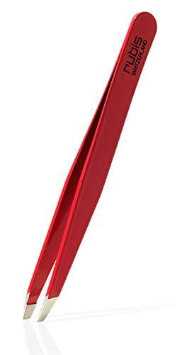 Rubis - Pince à épiler - mors biais - rouge