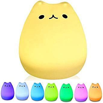 BeeDigital   LED Nachtlicht in Katzen-Design   Farbwechsel zwischen 7 Farben, dimmbar, Touch-Bedienung   USB-Anschluss   Süße Deko für Kinder