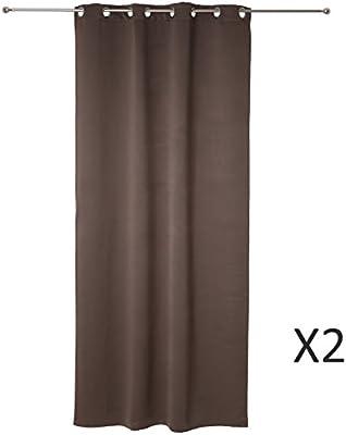 Conjunto de 2 cortinas opacas de anillas de color MARRÓN GRISÁCEO