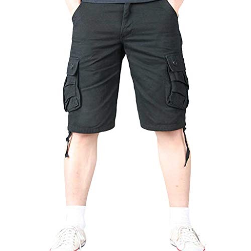 olor Shorts Herren Outdoor Taschen Strand Arbeit Hosen Cargo Pant 3/4 Herren Cargo Short Hose ()