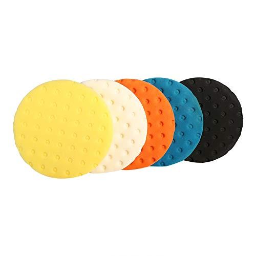 Polier Puffer Set, 5pcs 5/6/7 Zoll Smart Wasch Polierschwamm Buffer Pad Set für Auto Polierer(7 inch)