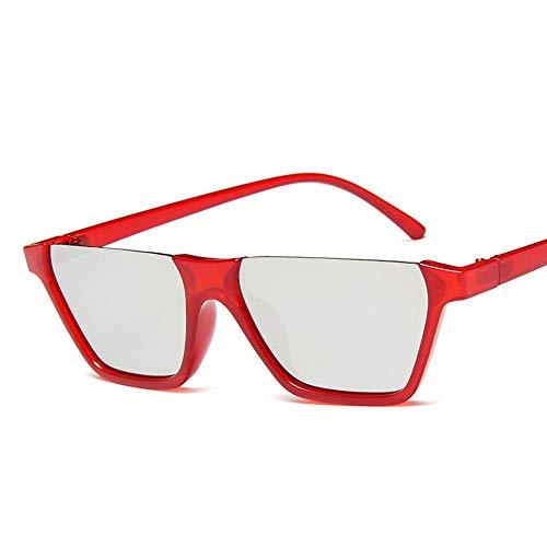 WDDYYBF Sonnenbrillen, Klassische Mode Retro Sonnenbrille Super Hälfte Frame Brille Cat Eye Semi-Rimless Frauen Sonnenbrille Brille Schutzbrille Uv400 Red Frame Lens