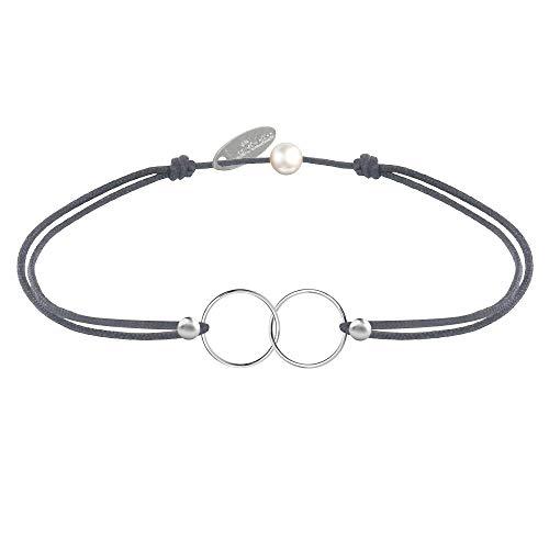 Schmuck Les Poulettes - Silber Armband Du und ich - Silver Circles and Pearls 4 mm auf gewachsten Cord - Graue Farbe Cord