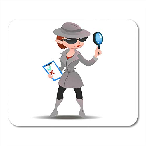 Deglogse Gaming-Mauspad-Matte, Black Mystery Shopper Woman in Spy Boots Sunglasses and Hat with Magnifier and Checklist Full Length Mouse Pad,Desktop Computers