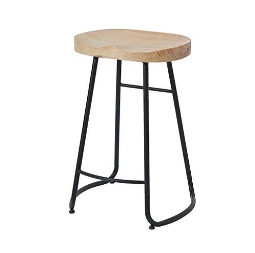 MEI XU Hocker Moderne Minimalistische Feste Hölzerne Barhocker, nordischer Eisen-Mode-Barhocker, kreativer Persönlichkeits-Kaffeestube-Bekleidungsgeschäft-Hoher Schemel, [3 Größen] Starke Ausdauer (25 Hohen Hölzernen Sitz)