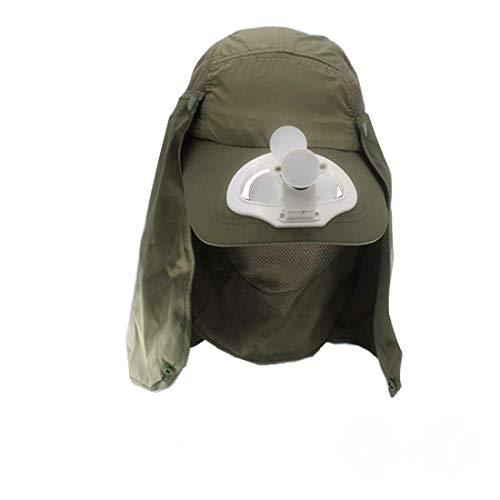 Jamicy® Sommer Baseball Cap, UV Sonnenhut Nackenschutz Mütze, Sommer Fan Kühlung Baseball Cap Hut USB Aufladen atmungsaktiv, Schatten Sonnencreme Hut (Armee Grün) -