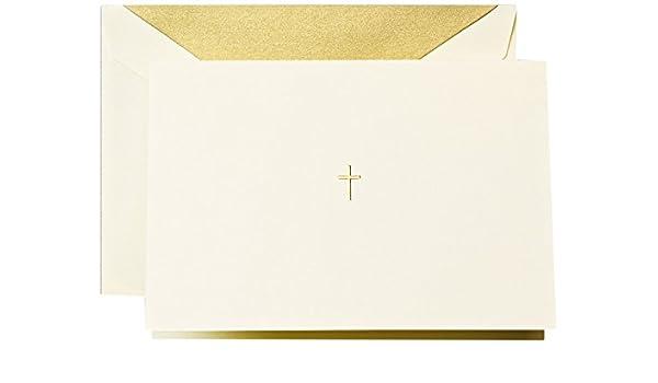 cf1444 Hand Gravur ecruwhite Gold Kreuz Note CRANE /& Co