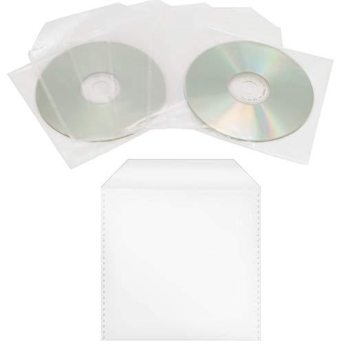 100 Stück CD/DVD/Bluray Schutzhüllen, PP, Transparent Hüllen, Sleeves mit Lasche, Leerhülle, Für Aufbewahrung von CDs DVDs BD Rohlinge, Plastik Tasche mit Klappe, Folien Hülle, Single CD-Sleeve Box