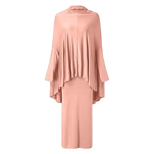 GJKK Muslimische Roben Arabische Kleidung Islamische Kleidung Arabische Nahöstliche Teenager-Mädchen Einfarbig Eeinfaches Kleid zweiteiliger Anzug Elegante Muslimischen Kaftan Kleid