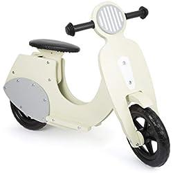 """Small Foot 11978 Bicicleta de aprendizaje scooter """"Bella Italia"""" de madera, a partir de los 3 años (crema)"""