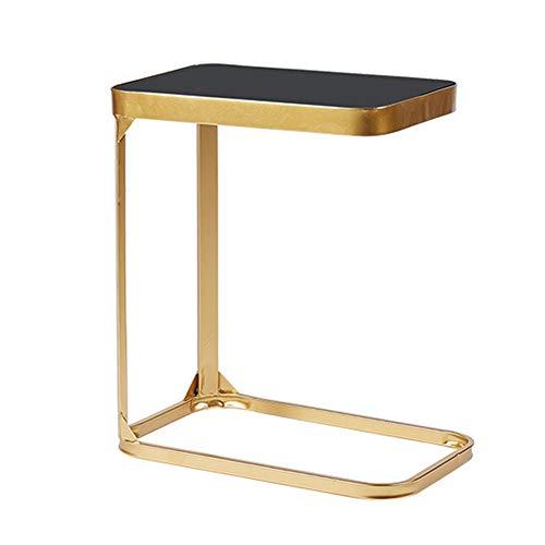 Bseack Tabelle Beistelltisch Eisen Kunst Kleiner Couchtisch Gehärtetes Glas Finish Geeignet für Wohnzimmer Sofa Side Bedroom Bedside, 2 Farben (Farbe : Gold) - Gold-finish-tabelle