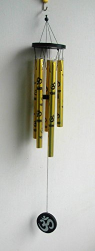 Tej Gifts - Feng Shui Metal OM Wind chime Golden 5 Pipes - medium  available at amazon for Rs.149