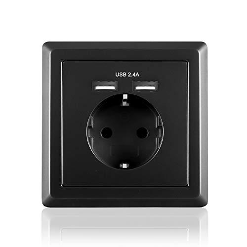 benon Wand-Steckdose mit USB Anschluss, Unterputz - Schwarz - Überlastschutz und Kindersicherung - 2.4A USB (5V), max. 3680W -