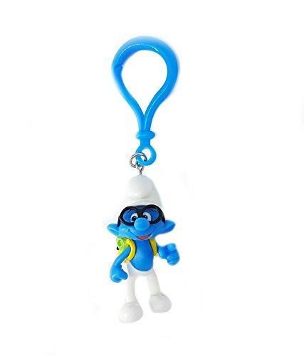 Preisvergleich Produktbild 3D Schlümpfe Bagclip Anhänger Schlüsselanhänger Figurauswahl (Schlaubi)