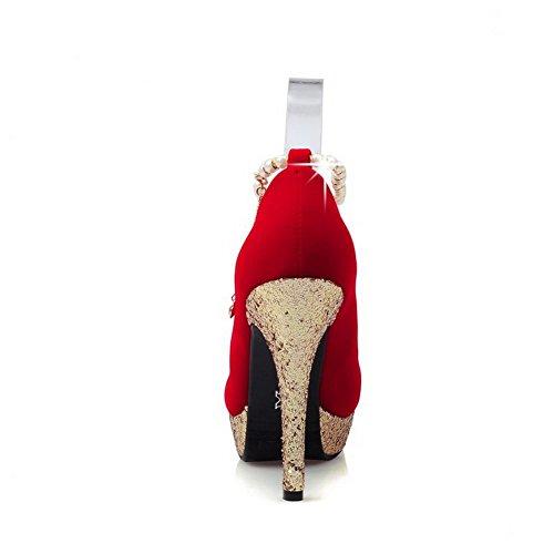 AgooLar Femme Boucle Rond à Talon Haut Suédé Couleur Unie Chaussures Légeres Rouge