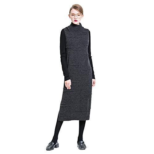 VIOY Ärmelloses Kleid Herbst Frauen hohen Kragen abnehmen hohe Wolle Maxi Rock Stricken,grau,Einheitsgröße -