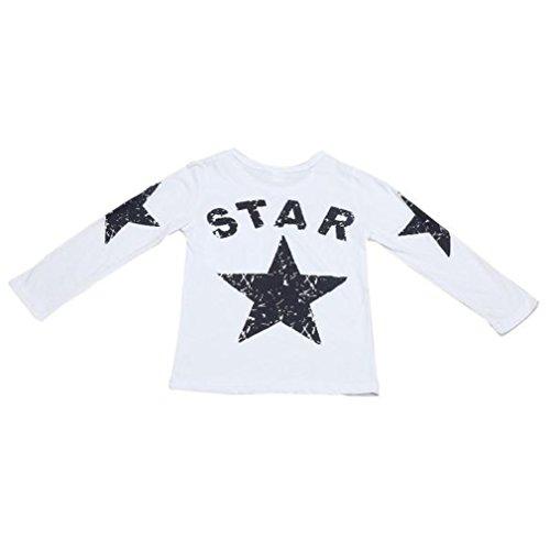JYJM Säuglingskleinkind Jungen langes Hülsen Stern Druck T-Shirt Spitzen Kleidung (Size:5 Jahre, Weiß)