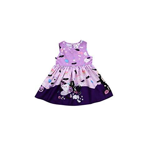 Pageantry Kleid Baby Mädchen A-Line Halloween Drucken Baumwolle Freizeit Herbst Kleid Ärmellos Minikleid Taillen Kleid Sommer Tunik Elegant Strandkleid Mode Swing Kleid